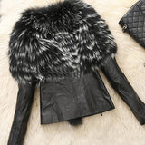 Faux Fur and Leather Jacket - WHATWEARS