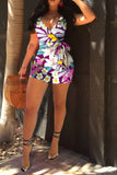 Printed V Neck Belt Romper