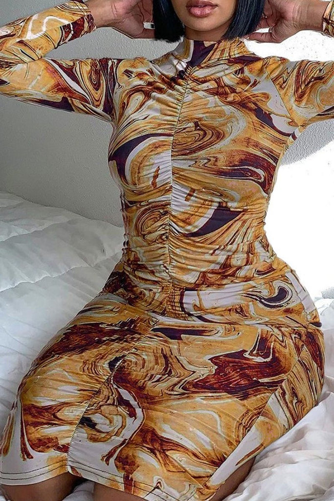 Digital Printed Pleated Bodycon Dress