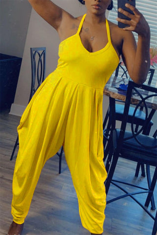 Open Back Solid Color Casual Jumpsuit, whatwears  - buy with discount