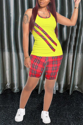 Tartan Plaid Sleeveless Two Piece Sets, whatwears  - buy with discount