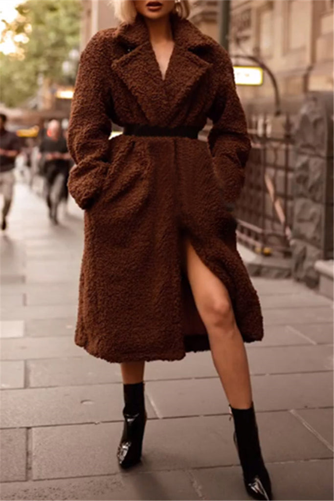 One Button Solid Color Warm Winter Fluffy Coat
