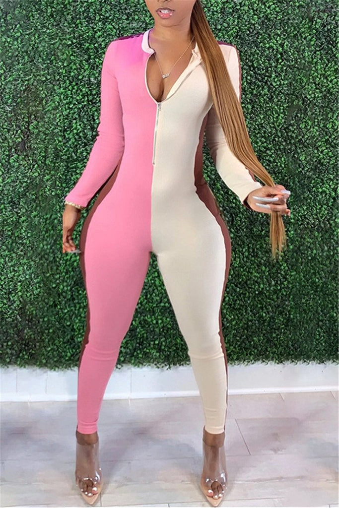 Color Block Long Sleeve Skinny Jumpsuit