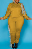 Tassels Pierced Plus Size Two Piece Sets