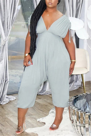 V Neck Solid Color Sleeveless Casual Jumpsuit, whatwears  - buy with discount