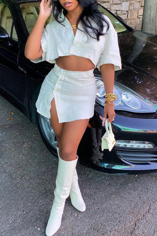 Half Sleeve Button Slit Two Piece Sets, whatwears  - buy with discount