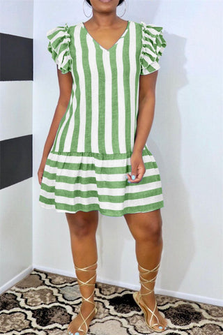 V Neck Stripe Print Ruffled Casual Dress, whatwears  - buy with discount