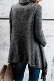 Gray Fringed Asymmetric Sweater - WHATWEARS