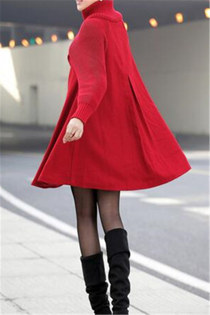 Button Closure Long Sleeve Swing Coat - WHATWEARS
