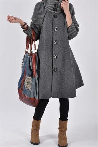 Button Closure Long Sleeve Swing Coat