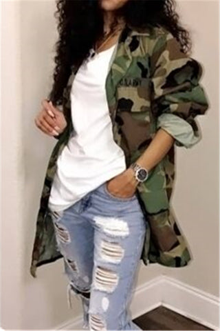 Distressed Camouflage Print Stand Collar Long Coat