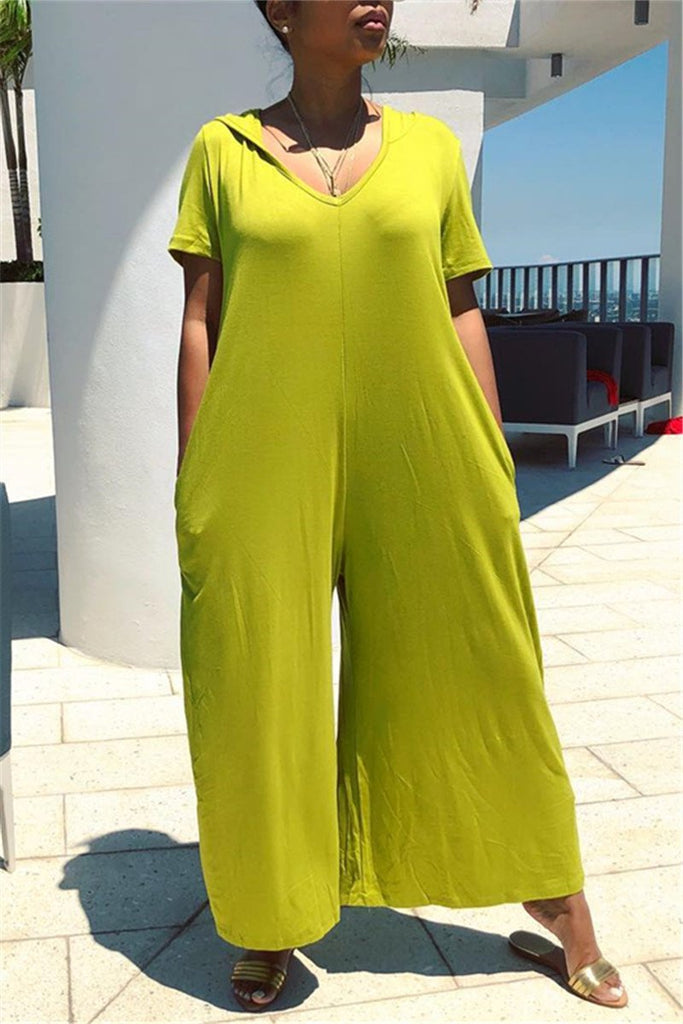 Solid Color Short Sleeve Wide Leg Casual Jumpsuit