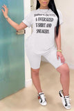 Letter Print Short Sleeve Casual Two Piece Sets