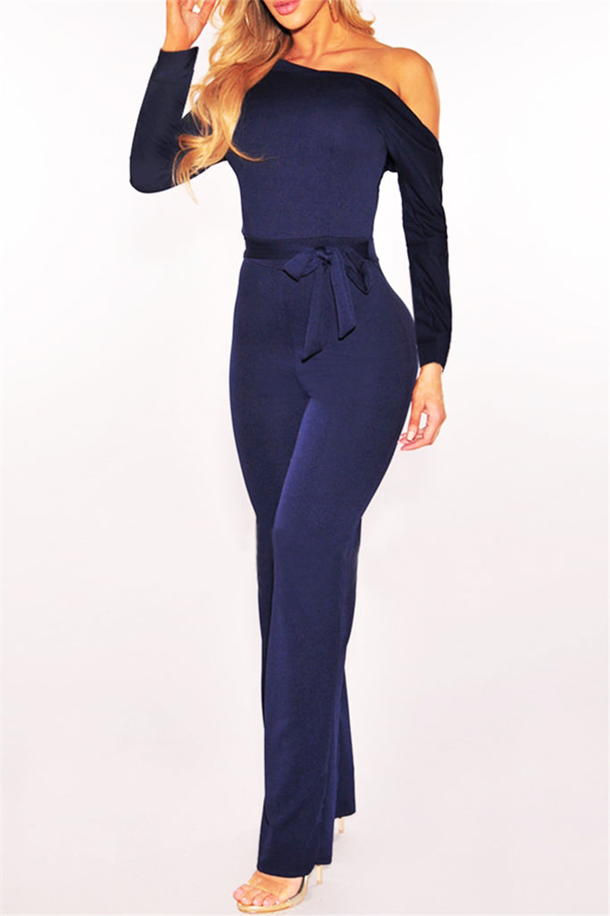 Off the Shoulder Tie Waist Jumpsuit