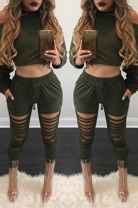 Fashion Slash Solid Color  Long Sleeve Two Piece Sets - WHATWEARS