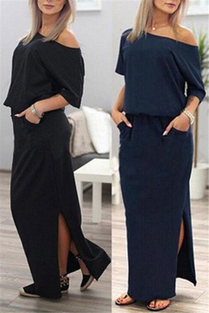 Skew Neck Side Slit Maxi Beach Dress
