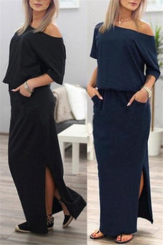 Skew Neck Side Slit Maxi Beach Dress фото