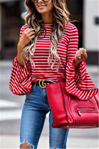 Asymmetric Hem Stripe Print Long Sleeve Top