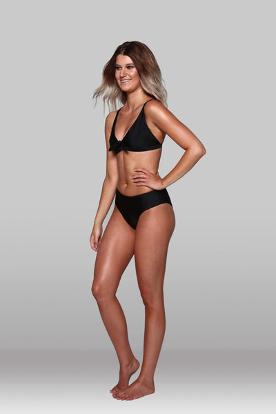 Black Mid-Rise Panelled Bikini Pant, Bottoms, Hoola Collective - Hoola Collective