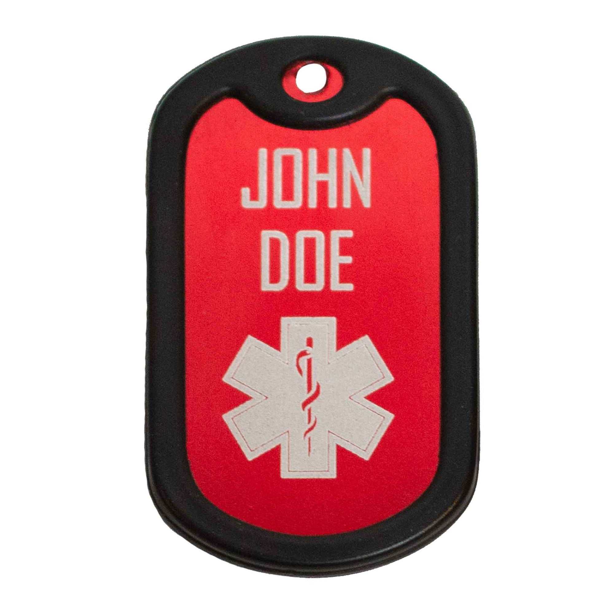 Medical ID tag with name and EMS logo