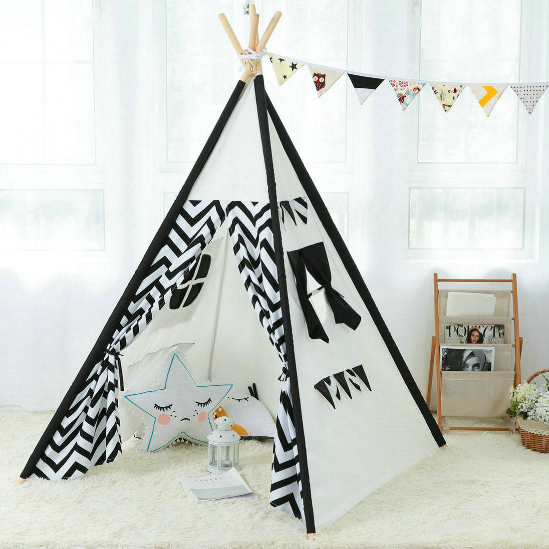 Kids Teepee Indoor Play tent - Large Cotton Canvas Children Indian Tipi Playhouse with Carry Case  sc 1 st  Steegic & Kids Teepee Indoor Play tent - Large Cotton Canvas Children Indian ...