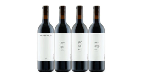 Lost Poet wine bottles with labels designed by Atticus Poetry - online wine sales by Atticus Poetry