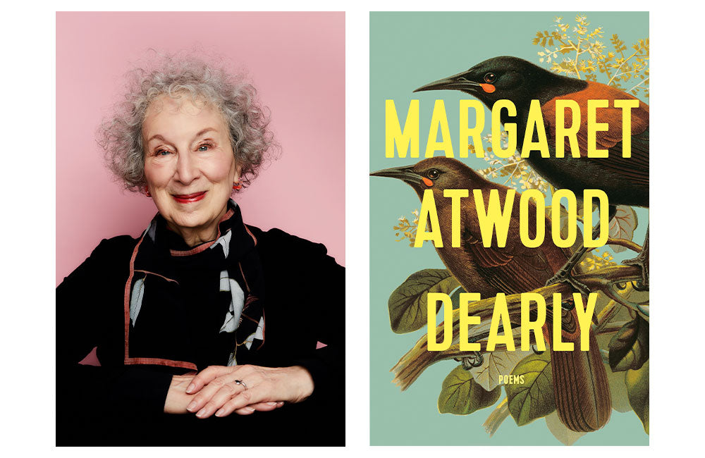 Margaret Atwood profile photograph and cover photo for her new poetry book titled Dearly