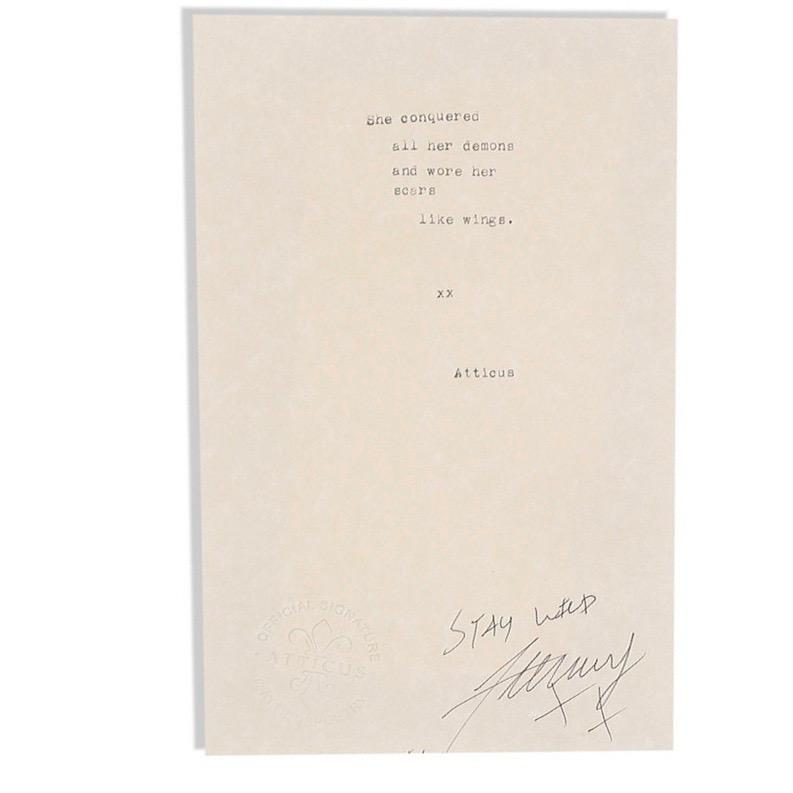 Wings - Atticus Signed Poem