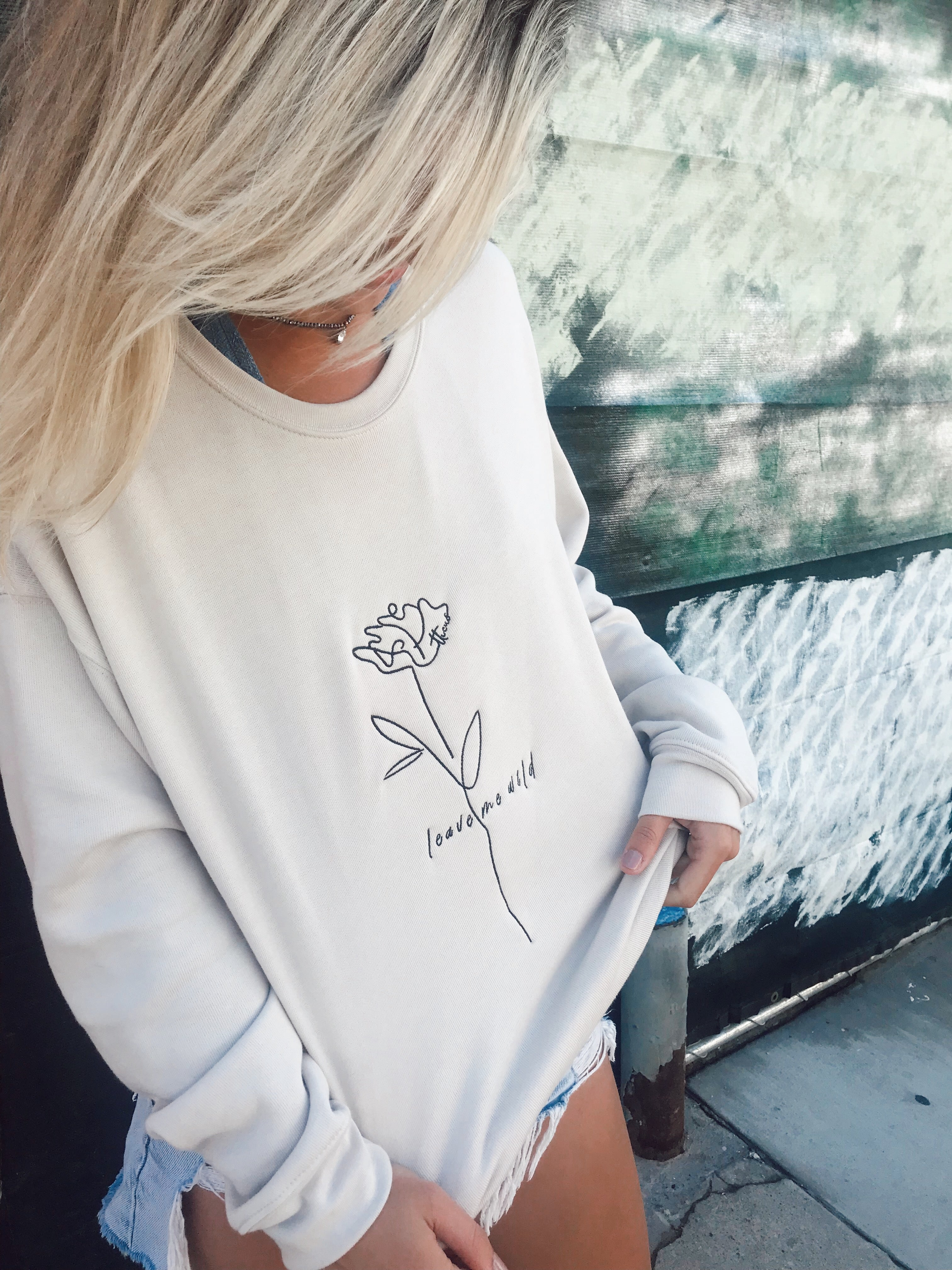 Wild Rose - Embroidered Crew