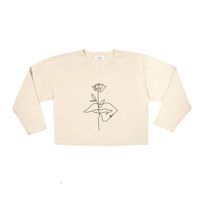 Flower Kiss Crop - Ivory