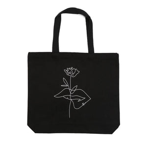 Atticus poetry tote bag - black bag - rose