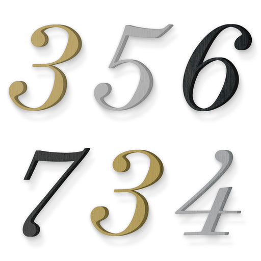 Custom house number font suveyor light italic