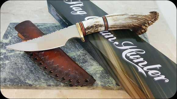 Crown Stag Handle Fixed Blade Knife with Custom Leather Sheath