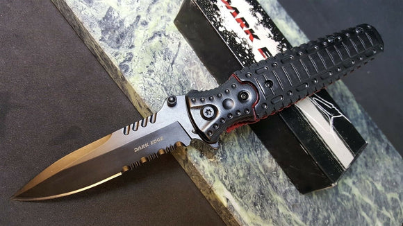 Dark Edge Blades Spring Assisted Knife Rescue Glass Breaker Linerlock A/O - Big Sky Knife