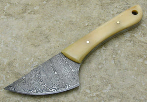 Smooth Bone Handle Knfie Damascus Steel Fixed Blade Skinner Caping - Big Sky Knife