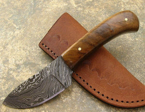 Walnut Handle Full Tang Damascus Blade Skinner Knife W custom Leather Sheath