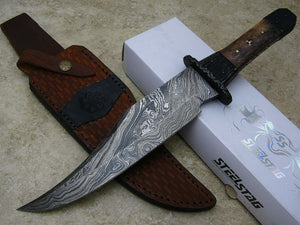 DAMASCUS BOWIE KNIFE File Worked Finger Guard and Tang Full Tang Custom Sheath - Big Sky Knife