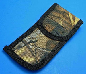"Sheath for 5"" 5 inch Folding Pocket Knife Belt Pouch Camo Nylon w/ Velvet Lining"