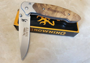 Browning Linerlock NWTF Etch Pocket Knife National Wild Turkey Federation