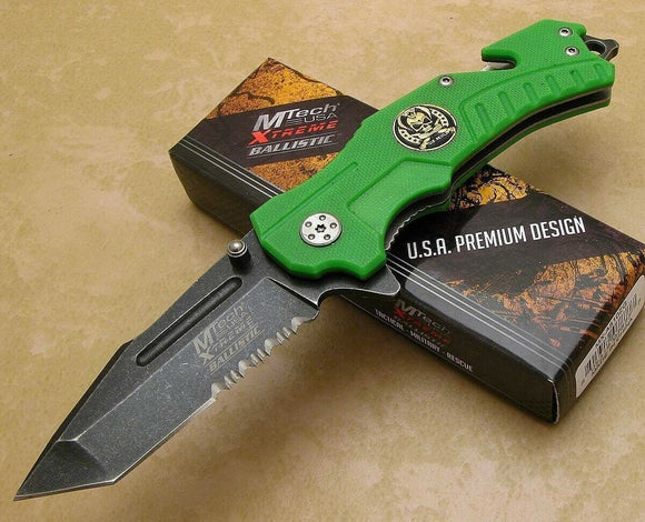 MTech Extreme Assisted Open Knife Tactical Green G-10 Stonewashed Tanto Blade - Big Sky Knife