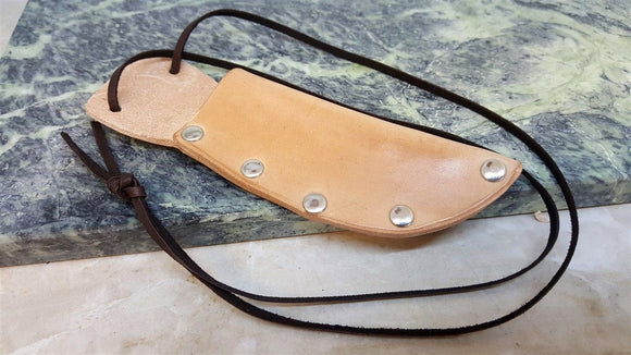 USA Handmade Leather Fixed Blade Neck patch Knife Sheath for up to 3