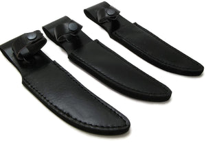 "Lot of 3 Bonded Leather Fixed Blade knife sheaths fits up to 4.5"" blade Knives"