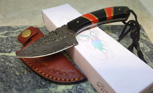 Full Tang Damascus Steel Fixed Blade Knife Red Turquoise Handle Leather Sheath - Big Sky Knife