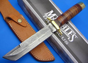 Marbles Tanto Damascus Steel Fixed Blade Stacked Leather Handle Knife + Sheath - Big Sky Knife