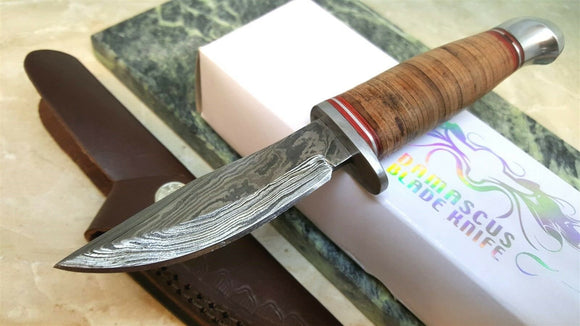 Stacked Leather Handle Small Hunter Damascus Steel Fixed Blade Knife - Big Sky Knife