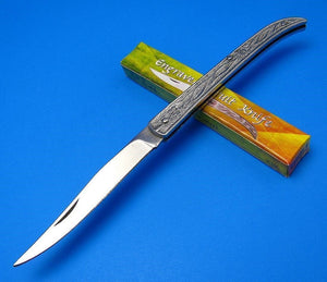 Engraved Pocket Toothpick Style Stainless Steel Handle Jack Type Fruit Knife 6.5