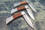 3-Pack of Wood Handle Lockback Folding Blade Pocket Knife NEW - Big Sky Knife