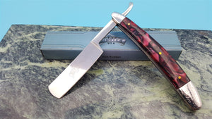 MASTER Red Pearl Swirl Handle Folding Blade Straight Razor Knife Etch Bolsters