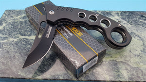 TAC-Force CNC cutout Finger Groove Handle Black Folding Blade knife - Big Sky Knife