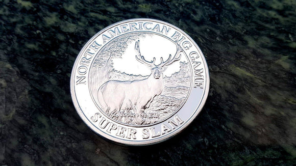 North American Big Game Super Slam Roosevelt Elk Hunting Silver Collector Coin